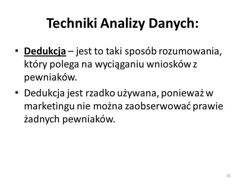 Techniki Analizy Danych: Dedukcja – jest to taki sposób rozumowania, który polega na wyciąganiu wniosków z pewniaków. Dedukcja jest rzadko używana, po