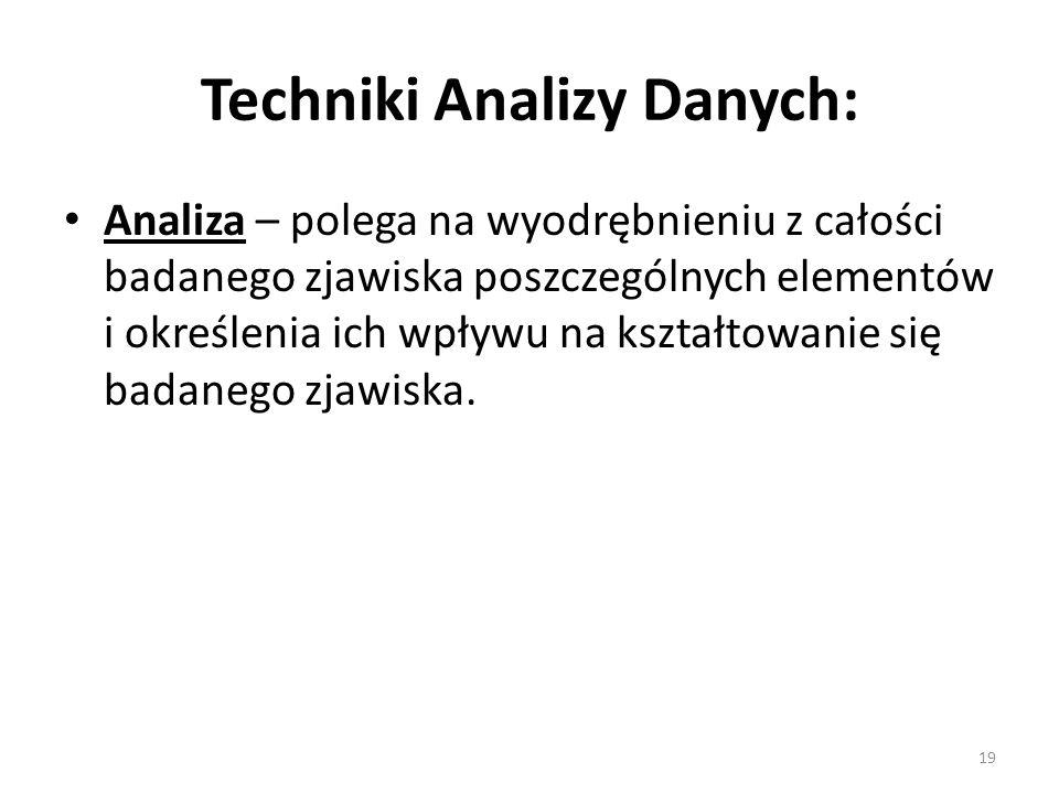 Techniki Analizy Danych: Analiza – polega na wyodrębnieniu z całości badanego zjawiska poszczególnych elementów i określenia ich wpływu na kształtowan