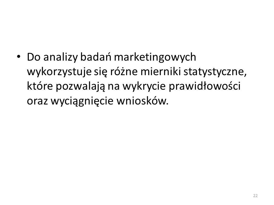 Do analizy badań marketingowych wykorzystuje się różne mierniki statystyczne, które pozwalają na wykrycie prawidłowości oraz wyciągnięcie wniosków. 22