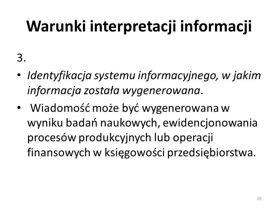 Warunki interpretacji informacji 3. Identyfikacja systemu informacyjnego, w jakim informacja została wygenerowana. Wiadomość może być wygenerowana w w