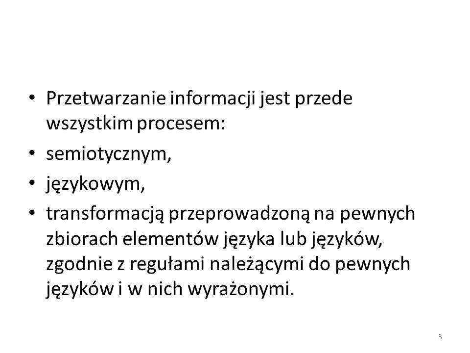 Interpretacja informacji jako proces semiotyczny Interpretacja informacji polega na przypisywaniu wiadomości pola semantycznego w wybranym języku.
