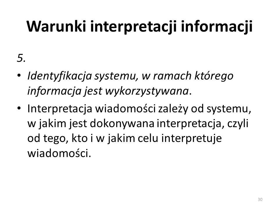 Warunki interpretacji informacji 5. Identyfikacja systemu, w ramach którego informacja jest wykorzystywana. Interpretacja wiadomości zależy od systemu
