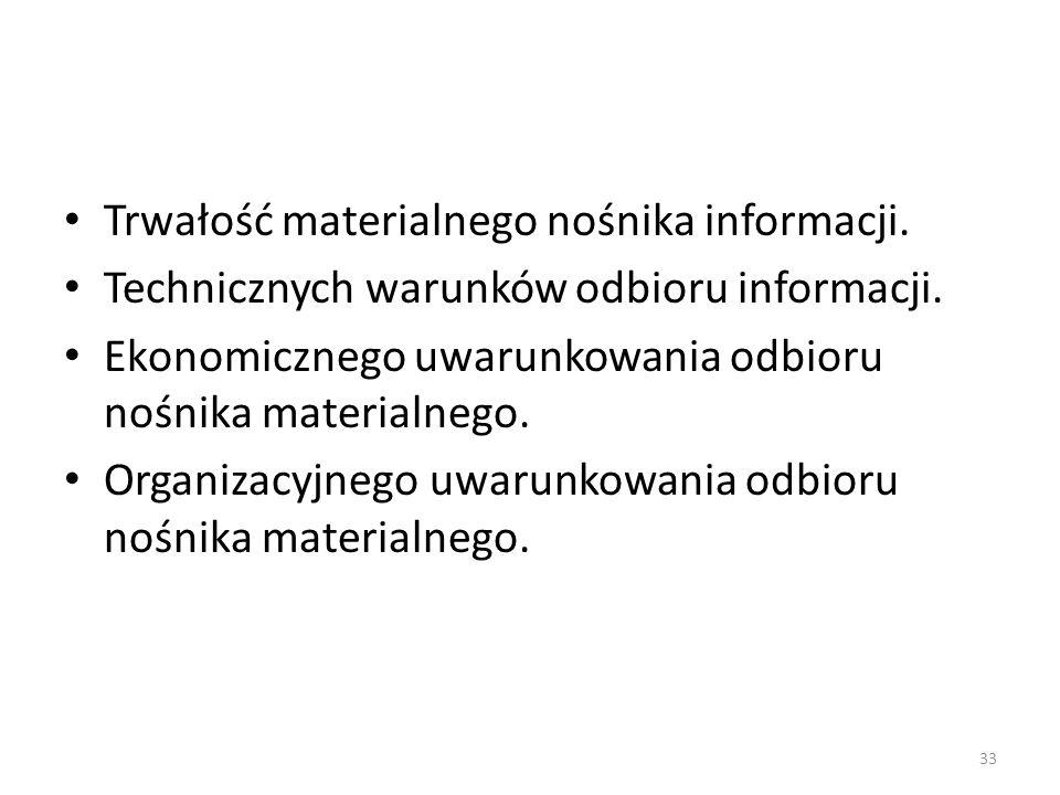 Trwałość materialnego nośnika informacji. Technicznych warunków odbioru informacji. Ekonomicznego uwarunkowania odbioru nośnika materialnego. Organiza