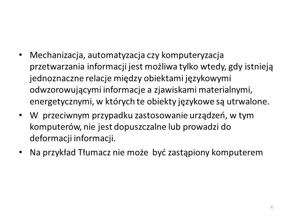 Warunki interpretacji informacji Aby proces interpretacji przebiegał prawidłowo, powinny być spełnione następujące warunki: 25