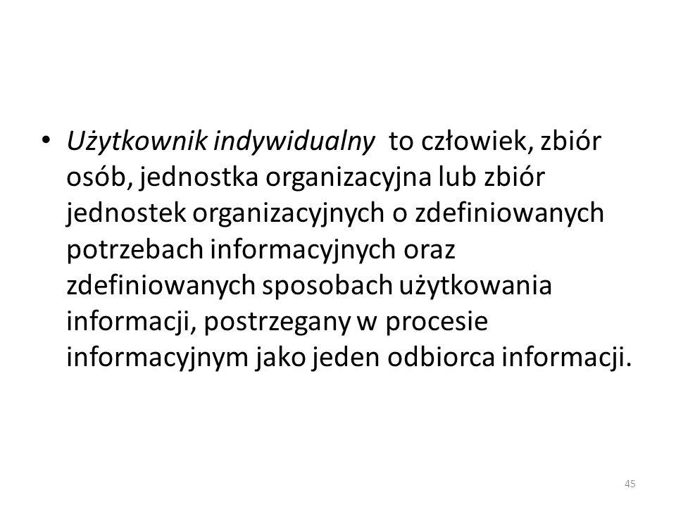 Użytkownik indywidualny to człowiek, zbiór osób, jednostka organizacyjna lub zbiór jednostek organizacyjnych o zdefiniowanych potrzebach informacyjnyc