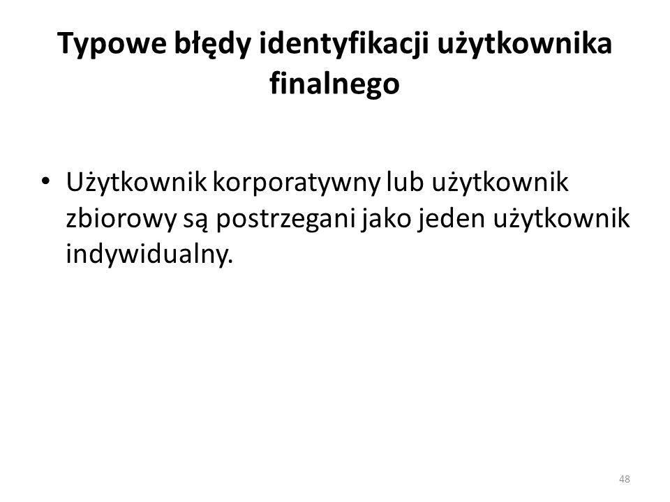Typowe błędy identyfikacji użytkownika finalnego Użytkownik korporatywny lub użytkownik zbiorowy są postrzegani jako jeden użytkownik indywidualny. 48