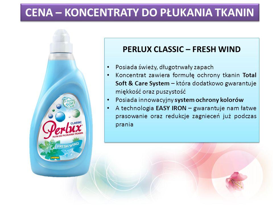 PERLUX CLASSIC – FRESH WIND Posiada świeży, długotrwały zapach Koncentrat zawiera formułę ochrony tkanin Total Soft & Care System – która dodatkowo gw