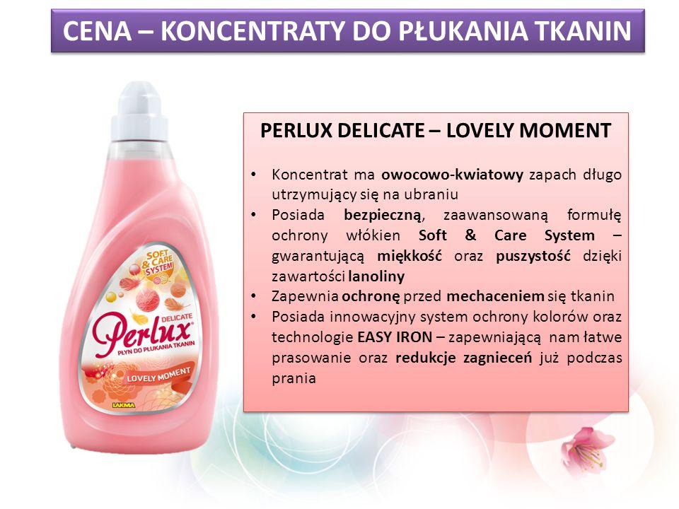 CENA – KONCENTRATY DO PŁUKANIA TKANIN PERLUX DELICATE – LOVELY MOMENT Koncentrat ma owocowo-kwiatowy zapach długo utrzymujący się na ubraniu Posiada b