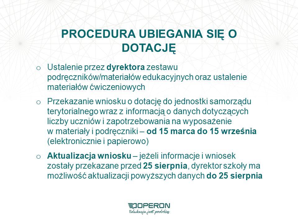 PROCEDURA UBIEGANIA SIĘ O DOTACJĘ o Ustalenie przez dyrektora zestawu podręczników/materiałów edukacyjnych oraz ustalenie materiałów ćwiczeniowych o P