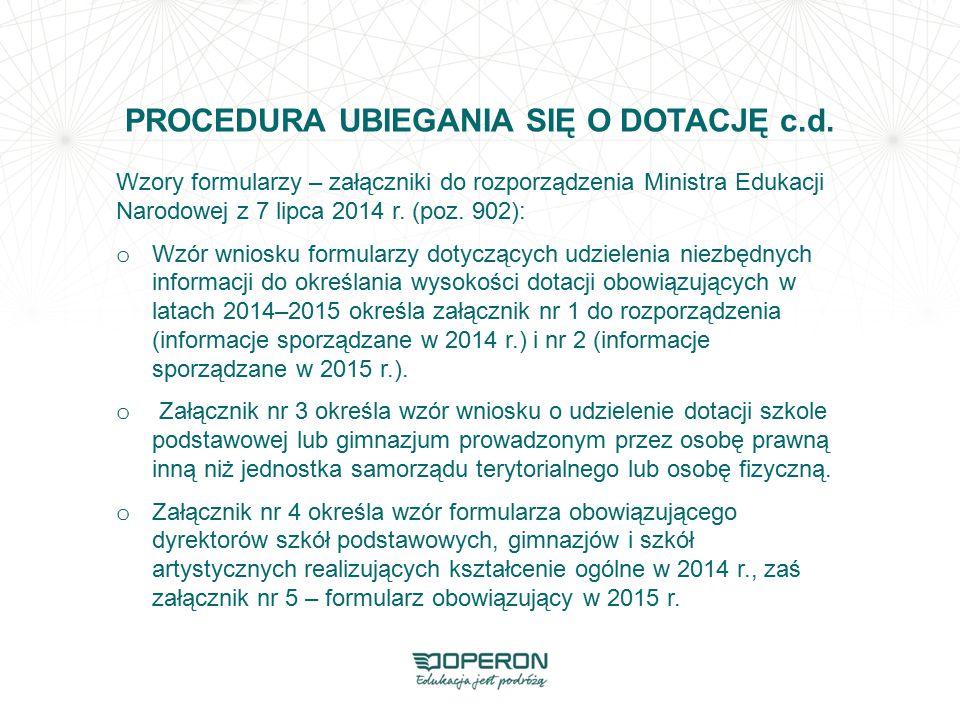 PROCEDURA UBIEGANIA SIĘ O DOTACJĘ c.d. Wzory formularzy – załączniki do rozporządzenia Ministra Edukacji Narodowej z 7 lipca 2014 r. (poz. 902): o Wzó