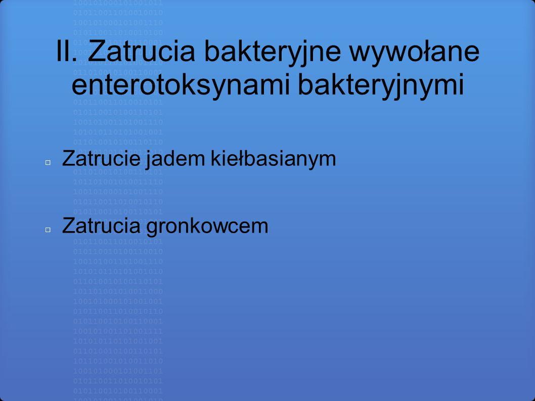 II. Zatrucia bakteryjne wywołane enterotoksynami bakteryjnymi □ Zatrucie jadem kiełbasianym □ Zatrucia gronkowcem