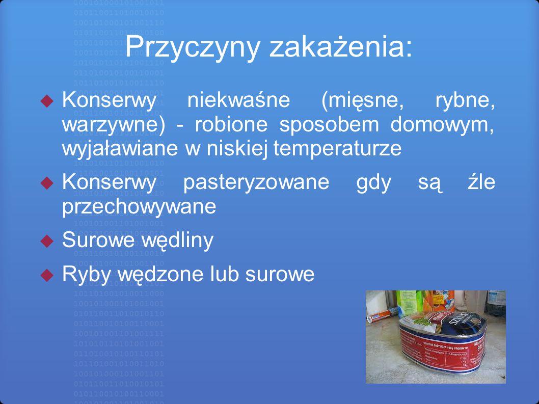 Przyczyny zakażenia:  Konserwy niekwaśne (mięsne, rybne, warzywne) - robione sposobem domowym, wyjaławiane w niskiej temperaturze  Konserwy pasteryz