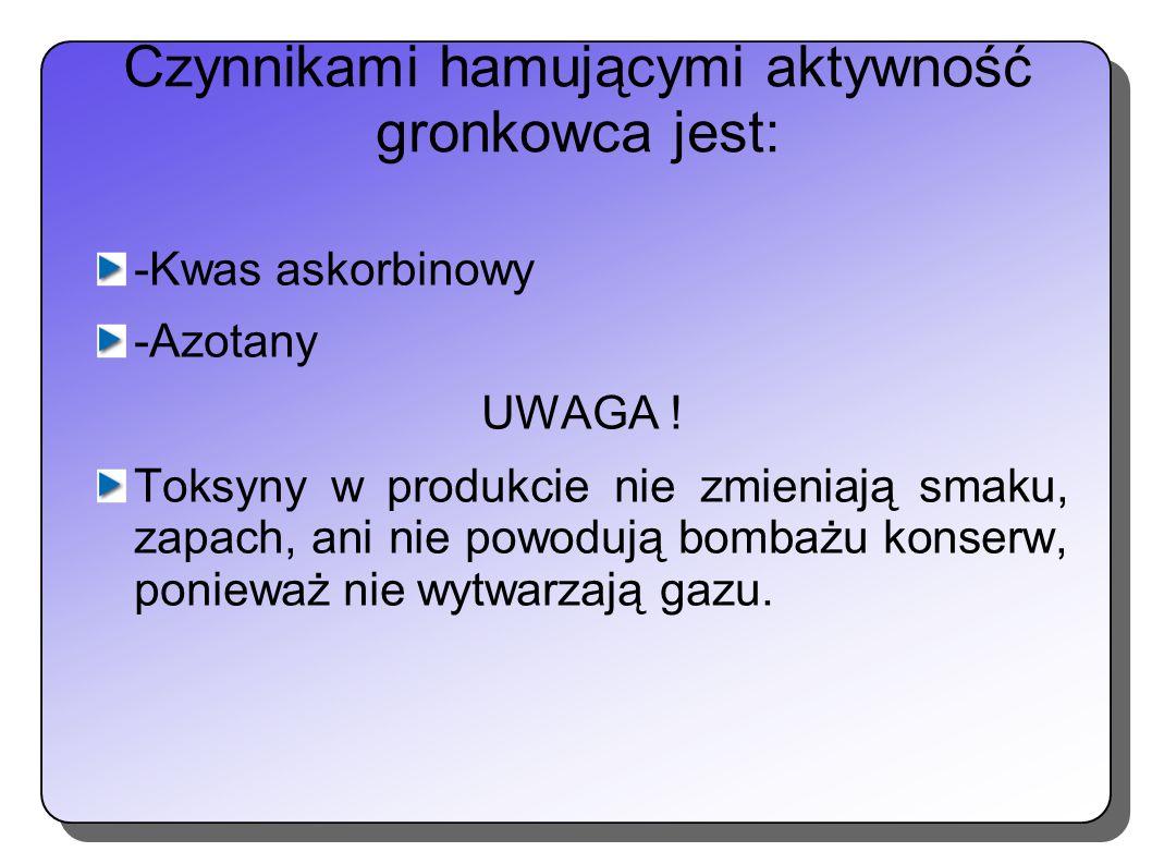 Czynnikami hamującymi aktywność gronkowca jest: -Kwas askorbinowy -Azotany UWAGA ! Toksyny w produkcie nie zmieniają smaku, zapach, ani nie powodują b