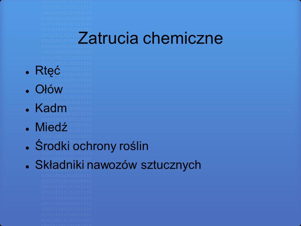 Zatrucia chemiczne Rtęć Ołów Kadm Miedź Środki ochrony roślin Składniki nawozów sztucznych