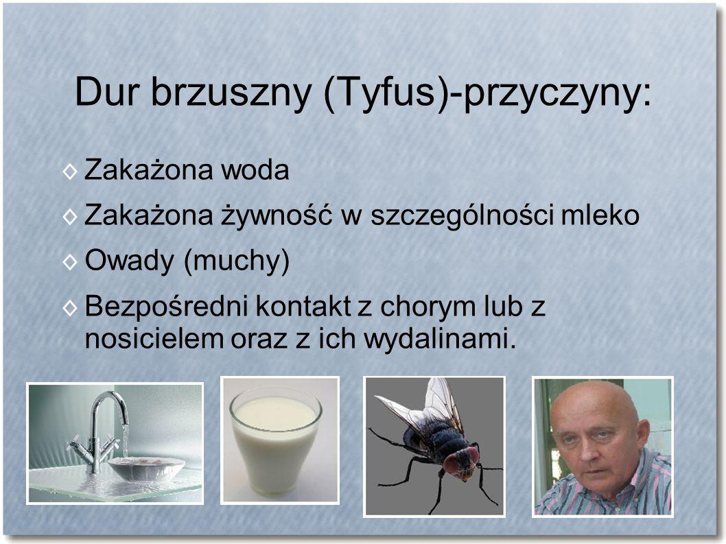 Dur brzuszny (Tyfus)-przyczyny: ◊ Zakażona woda ◊ Zakażona żywność w szczególności mleko ◊ Owady (muchy) ◊ Bezpośredni kontakt z chorym lub z nosiciel