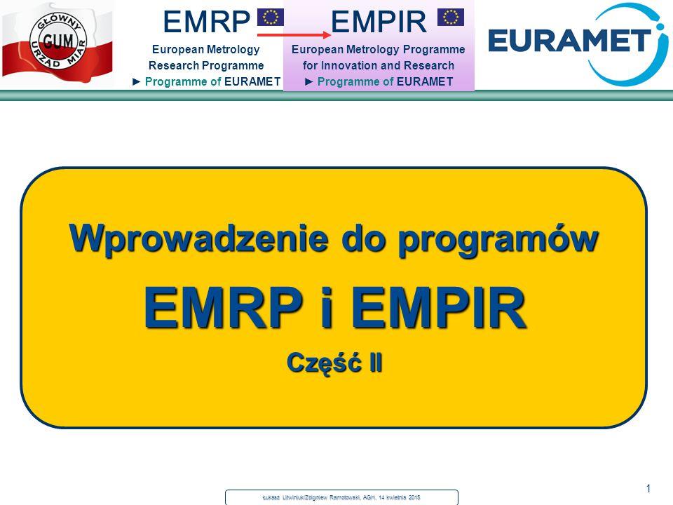 1 Łukasz Litwiniuk/Zbigniew Ramotowski, AGH, 14 kwietnia 2015 EMPIR European Metrology Programme for Innovation and Research ► Programme of EURAMET EM