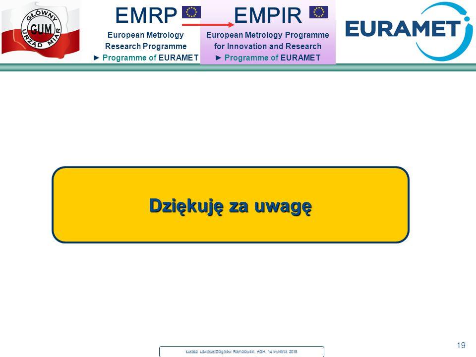 19 Dziękuję za uwagę EMPIR European Metrology Programme for Innovation and Research ► Programme of EURAMET EMRP European Metrology Research Programme