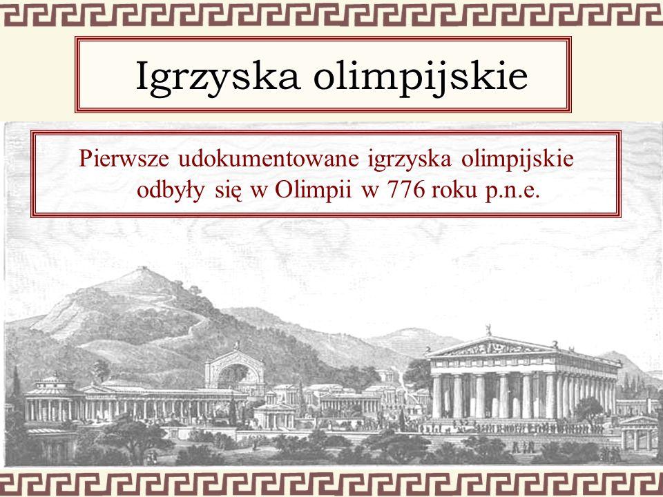Pierwsze udokumentowane igrzyska olimpijskie odbyły się w Olimpii w 776 roku p.n.e. Igrzyska olimpijskie