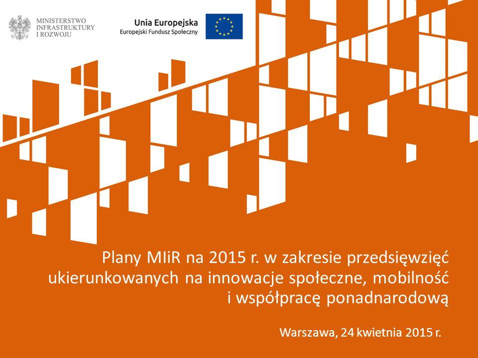 Warszawa, 24 kwietnia 2015 r. Plany MIiR na 2015 r.