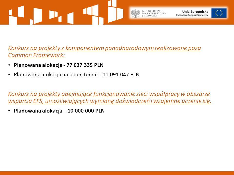 Konkurs na projekty z komponentem ponadnarodowym realizowane poza Common Framework: Planowana alokacja - 77 637 335 PLN Planowana alokacja na jeden temat - 11 091 047 PLN Konkurs na projekty obejmujące funkcjonowanie sieci współpracy w obszarze wsparcia EFS, umożliwiających wymianę doświadczeń i wzajemne uczenie się.