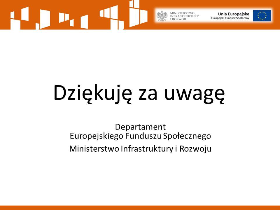 Dziękuję za uwagę Departament Europejskiego Funduszu Społecznego Ministerstwo Infrastruktury i Rozwoju