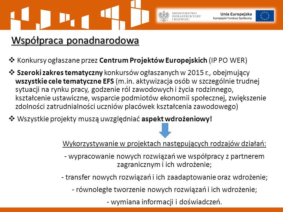  Konkursy ogłaszane przez Centrum Projektów Europejskich (IP PO WER)  Szeroki zakres tematyczny konkursów ogłaszanych w 2015 r., obejmujący wszystkie cele tematyczne EFS (m.in.