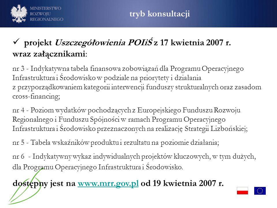 projekt Uszczegółowienia POIiŚ z 17 kwietnia 2007 r. wraz załącznikami: nr 3 - Indykatywna tabela finansowa zobowiązań dla Programu Operacyjnego Infra