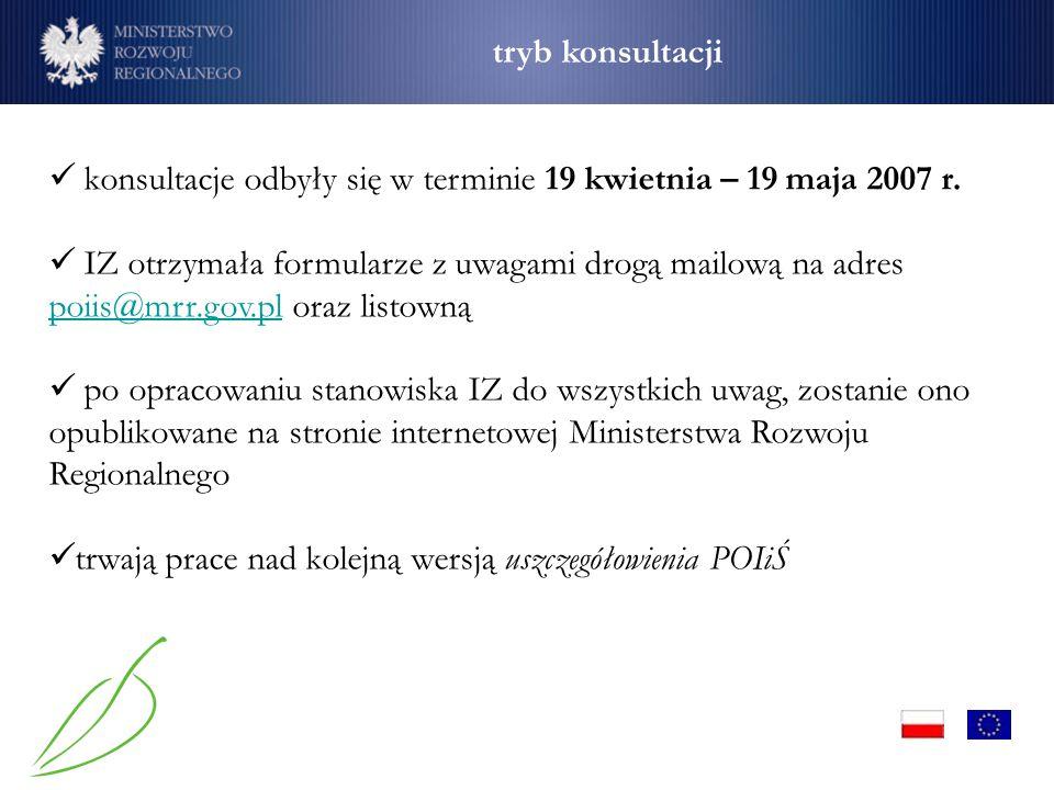 konsultacje odbyły się w terminie 19 kwietnia – 19 maja 2007 r. IZ otrzymała formularze z uwagami drogą mailową na adres poiis@mrr.gov.pl oraz listown