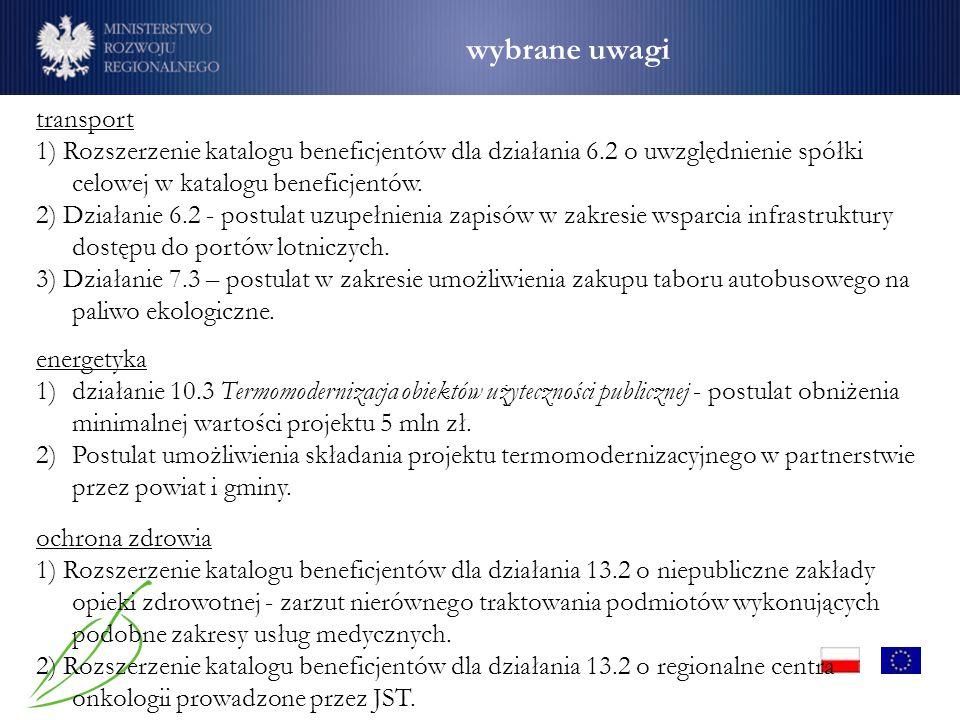 wybrane uwagi transport 1) Rozszerzenie katalogu beneficjentów dla działania 6.2 o uwzględnienie spółki celowej w katalogu beneficjentów.