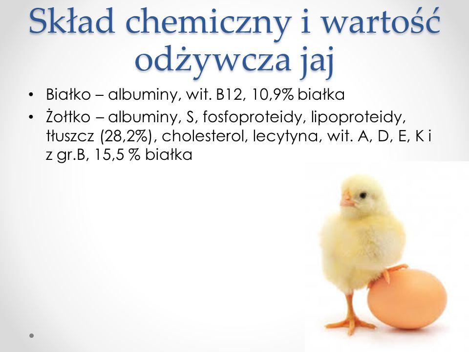 Skład chemiczny i wartość odżywcza jaj Białko – albuminy, wit. B12, 10,9% białka Żołtko – albuminy, S, fosfoproteidy, lipoproteidy, tłuszcz (28,2%), c
