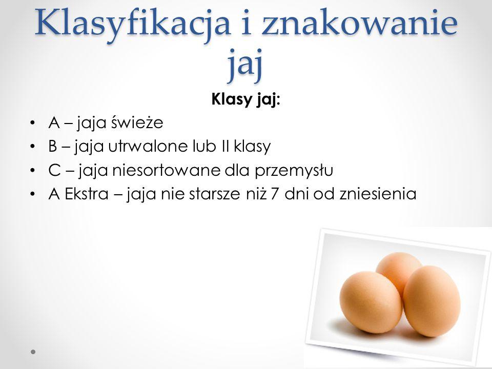 Klasyfikacja i znakowanie jaj Klasy jaj: A – jaja świeże B – jaja utrwalone lub II klasy C – jaja niesortowane dla przemysłu A Ekstra – jaja nie stars