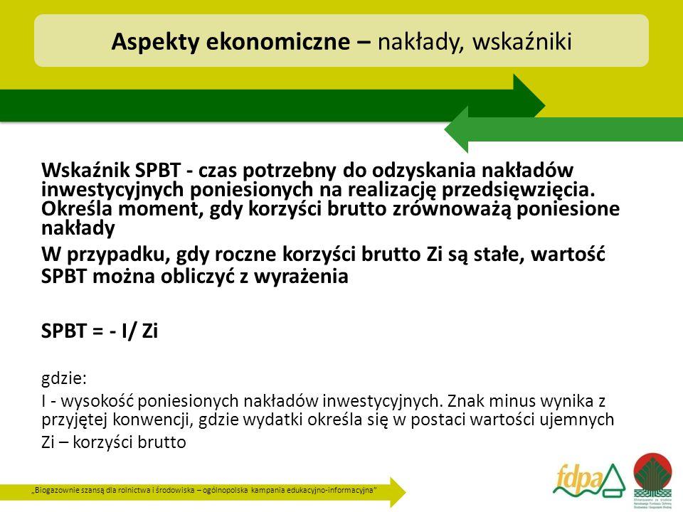 """""""Biogazownie szansą dla rolnictwa i środowiska – ogólnopolska kampania edukacyjno-informacyjna Wskaźnik SPBT - czas potrzebny do odzyskania nakładów inwestycyjnych poniesionych na realizację przedsięwzięcia."""