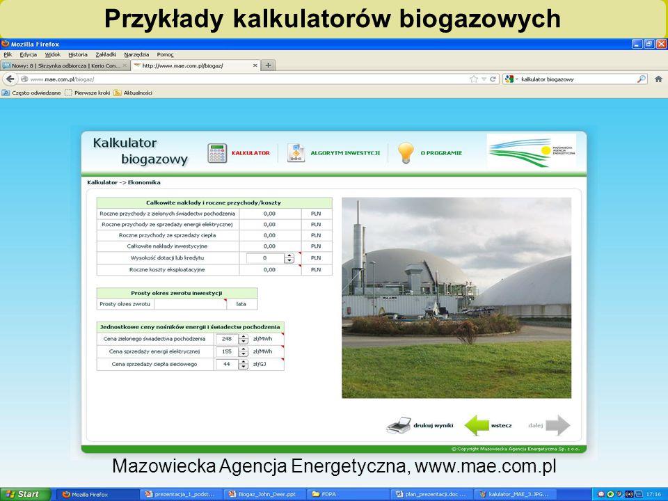 """""""Biogazownie szansą dla rolnictwa i środowiska – ogólnopolska kampania edukacyjno-informacyjna"""" Przykłady kalkulatorów biogazowych Mazowiecka Agencja"""