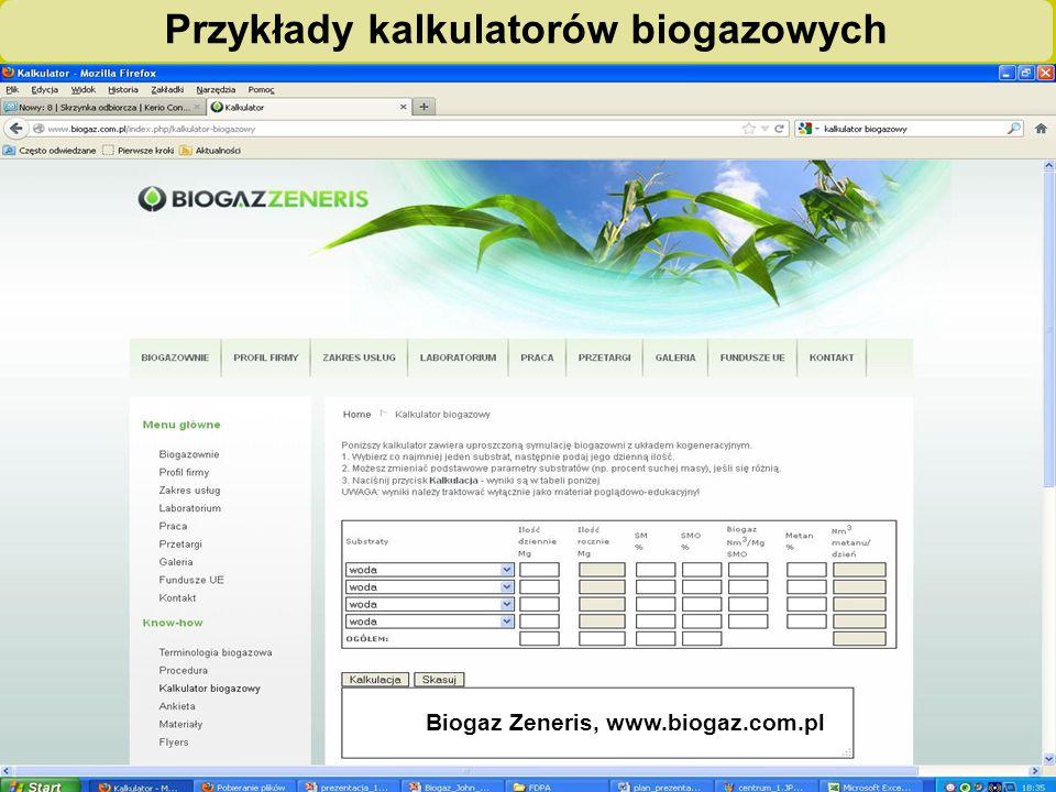 """""""Biogazownie szansą dla rolnictwa i środowiska – ogólnopolska kampania edukacyjno-informacyjna"""" Przykłady kalkulatorów biogazowych Biogaz Zeneris, www"""