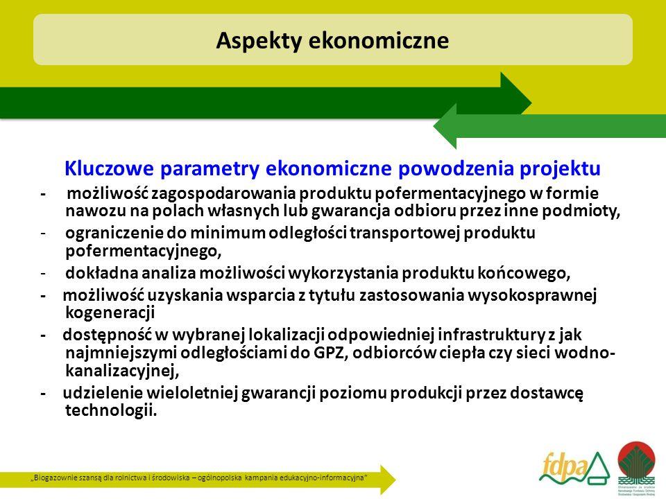 """""""Biogazownie szansą dla rolnictwa i środowiska – ogólnopolska kampania edukacyjno-informacyjna"""" Kluczowe parametry ekonomiczne powodzenia projektu - m"""