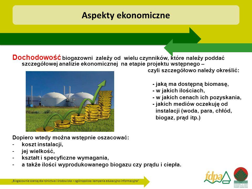 """""""Biogazownie szansą dla rolnictwa i środowiska – ogólnopolska kampania edukacyjno-informacyjna Dochodowość biogazowni zależy od wielu czynników, które należy poddać szczegółowej analizie ekonomicznej na etapie projektu wstępnego – czyli szczegółowo należy określić: - jaką ma dostępną biomasę, - w jakich ilościach, - w jakich cenach ich pozyskania, - jakich mediów oczekuję od instalacji (woda, para, chłód, biogaz, prąd itp.) Dopiero wtedy można wstępnie oszacować: -koszt instalacji, -jej wielkość, -kształt i specyficzne wymagania, -a także ilości wyprodukowanego biogazu czy prądu i ciepła."""