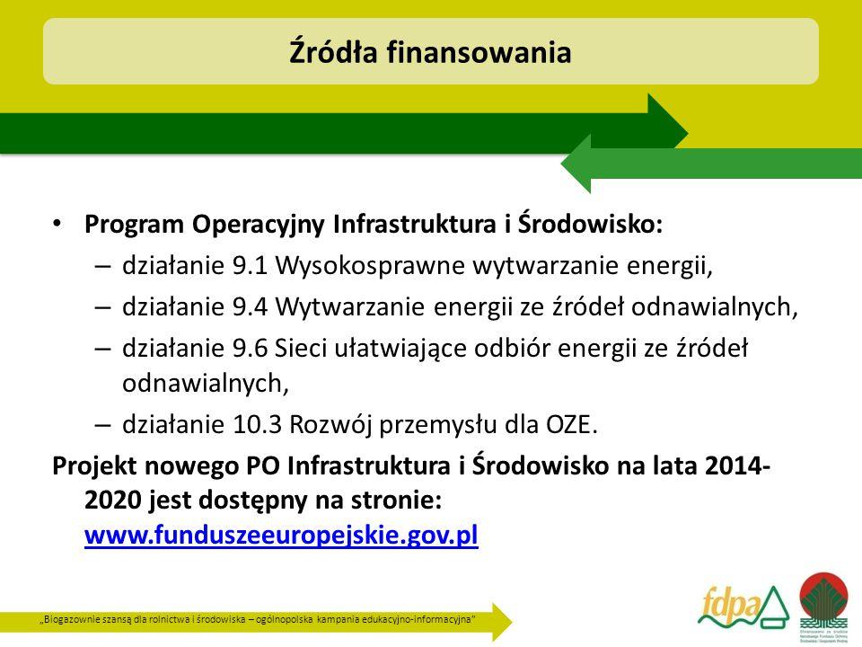 """""""Biogazownie szansą dla rolnictwa i środowiska – ogólnopolska kampania edukacyjno-informacyjna Program Operacyjny Infrastruktura i Środowisko: – działanie 9.1 Wysokosprawne wytwarzanie energii, – działanie 9.4 Wytwarzanie energii ze źródeł odnawialnych, – działanie 9.6 Sieci ułatwiające odbiór energii ze źródeł odnawialnych, – działanie 10.3 Rozwój przemysłu dla OZE."""