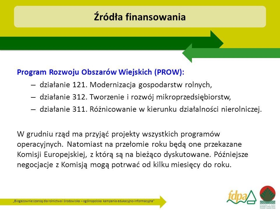 """""""Biogazownie szansą dla rolnictwa i środowiska – ogólnopolska kampania edukacyjno-informacyjna"""" Program Rozwoju Obszarów Wiejskich (PROW): – działanie"""
