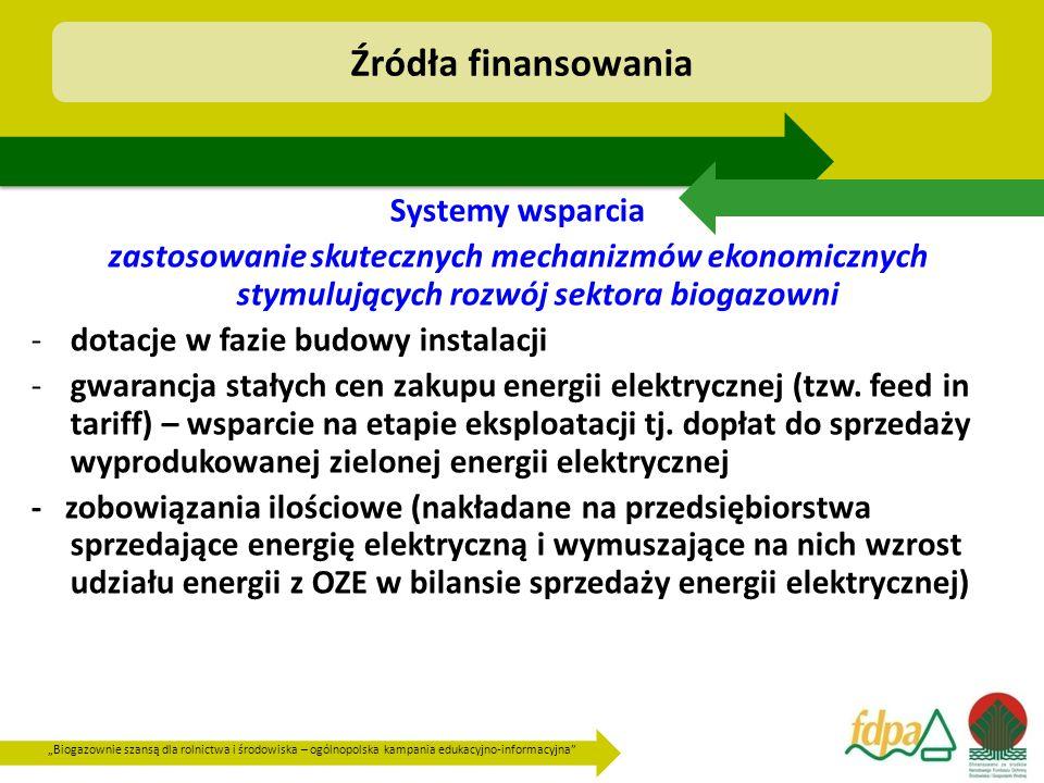 """""""Biogazownie szansą dla rolnictwa i środowiska – ogólnopolska kampania edukacyjno-informacyjna Systemy wsparcia zastosowanie skutecznych mechanizmów ekonomicznych stymulujących rozwój sektora biogazowni -dotacje w fazie budowy instalacji -gwarancja stałych cen zakupu energii elektrycznej (tzw."""