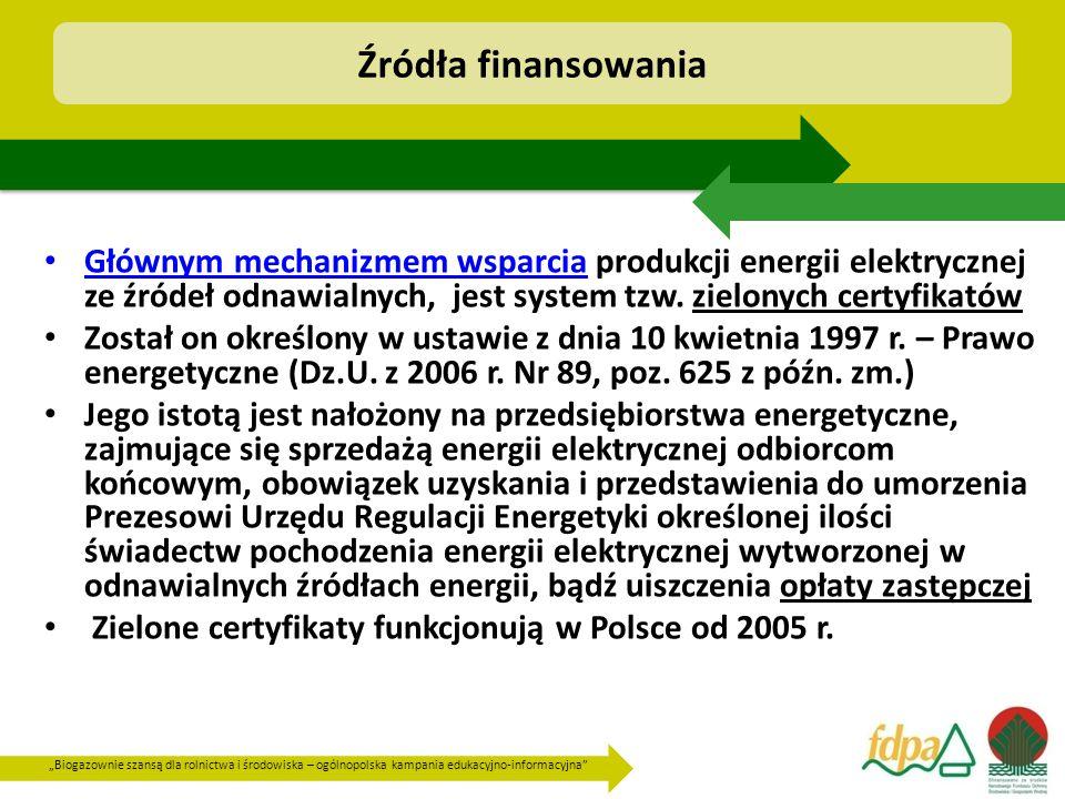"""""""Biogazownie szansą dla rolnictwa i środowiska – ogólnopolska kampania edukacyjno-informacyjna Głównym mechanizmem wsparcia produkcji energii elektrycznej ze źródeł odnawialnych, jest system tzw."""