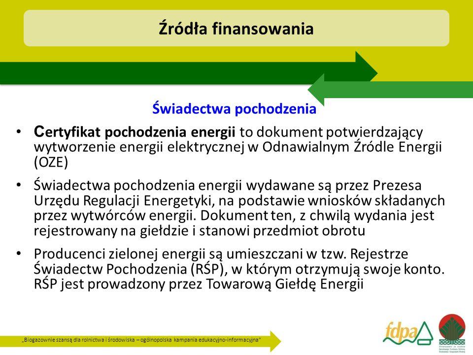 """""""Biogazownie szansą dla rolnictwa i środowiska – ogólnopolska kampania edukacyjno-informacyjna Świadectwa pochodzenia C ertyfikat pochodzenia energii to dokument potwierdzający wytworzenie energii elektrycznej w Odnawialnym Źródle Energii (OZE) Świadectwa pochodzenia energii wydawane są przez Prezesa Urzędu Regulacji Energetyki, na podstawie wniosków składanych przez wytwórców energii."""