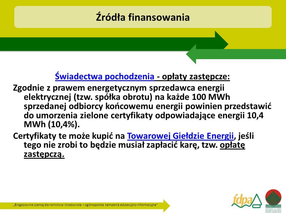 """""""Biogazownie szansą dla rolnictwa i środowiska – ogólnopolska kampania edukacyjno-informacyjna Świadectwa pochodzenia - opłaty zastępcze: Zgodnie z prawem energetycznym sprzedawca energii elektrycznej (tzw."""