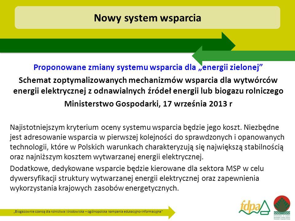 """""""Biogazownie szansą dla rolnictwa i środowiska – ogólnopolska kampania edukacyjno-informacyjna Proponowane zmiany systemu wsparcia dla """"energii zielonej Schemat zoptymalizowanych mechanizmów wsparcia dla wytwórców energii elektrycznej z odnawialnych źródeł energii lub biogazu rolniczego Ministerstwo Gospodarki, 17 września 2013 r Najistotniejszym kryterium oceny systemu wsparcia będzie jego koszt."""