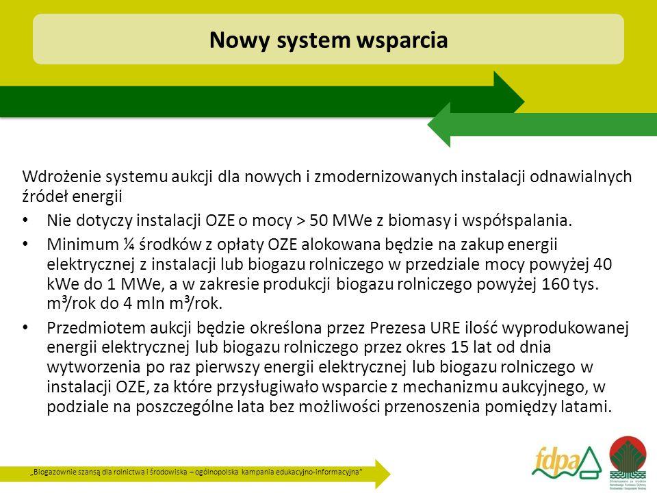 """""""Biogazownie szansą dla rolnictwa i środowiska – ogólnopolska kampania edukacyjno-informacyjna Wdrożenie systemu aukcji dla nowych i zmodernizowanych instalacji odnawialnych źródeł energii Nie dotyczy instalacji OZE o mocy > 50 MWe z biomasy i współspalania."""