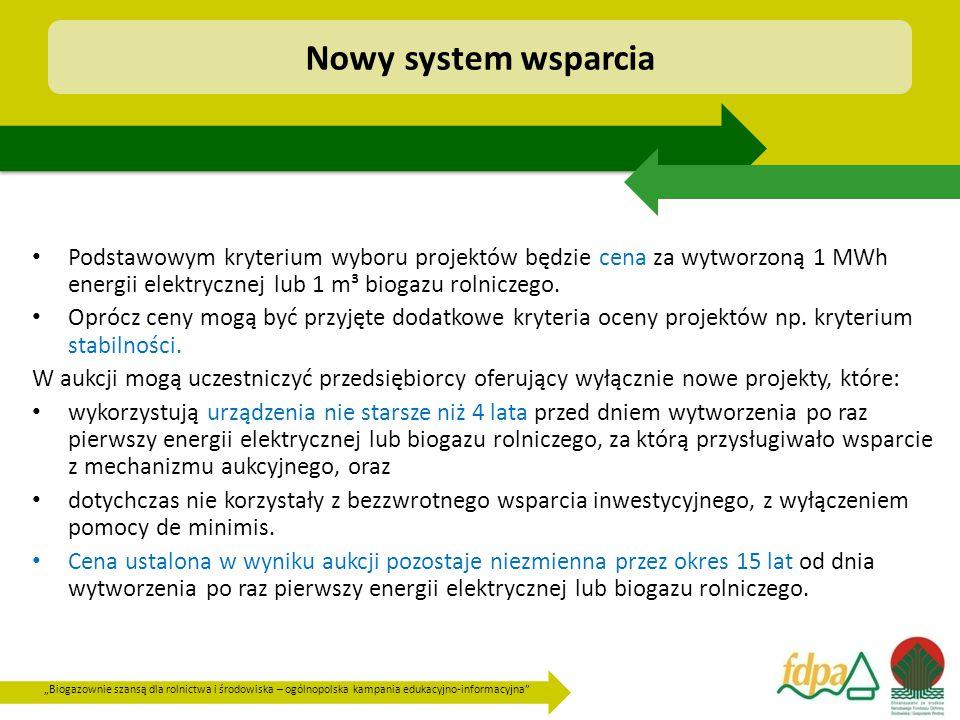 """""""Biogazownie szansą dla rolnictwa i środowiska – ogólnopolska kampania edukacyjno-informacyjna Podstawowym kryterium wyboru projektów będzie cena za wytworzoną 1 MWh energii elektrycznej lub 1 m³ biogazu rolniczego."""