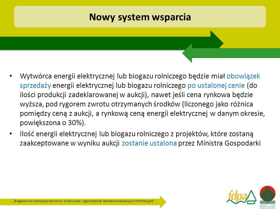 """""""Biogazownie szansą dla rolnictwa i środowiska – ogólnopolska kampania edukacyjno-informacyjna Wytwórca energii elektrycznej lub biogazu rolniczego będzie miał obowiązek sprzedaży energii elektrycznej lub biogazu rolniczego po ustalonej cenie (do ilości produkcji zadeklarowanej w aukcji), nawet jeśli cena rynkowa będzie wyższa, pod rygorem zwrotu otrzymanych środków (liczonego jako różnica pomiędzy ceną z aukcji, a rynkową ceną energii elektrycznej w danym okresie, powiększona o 30%)."""