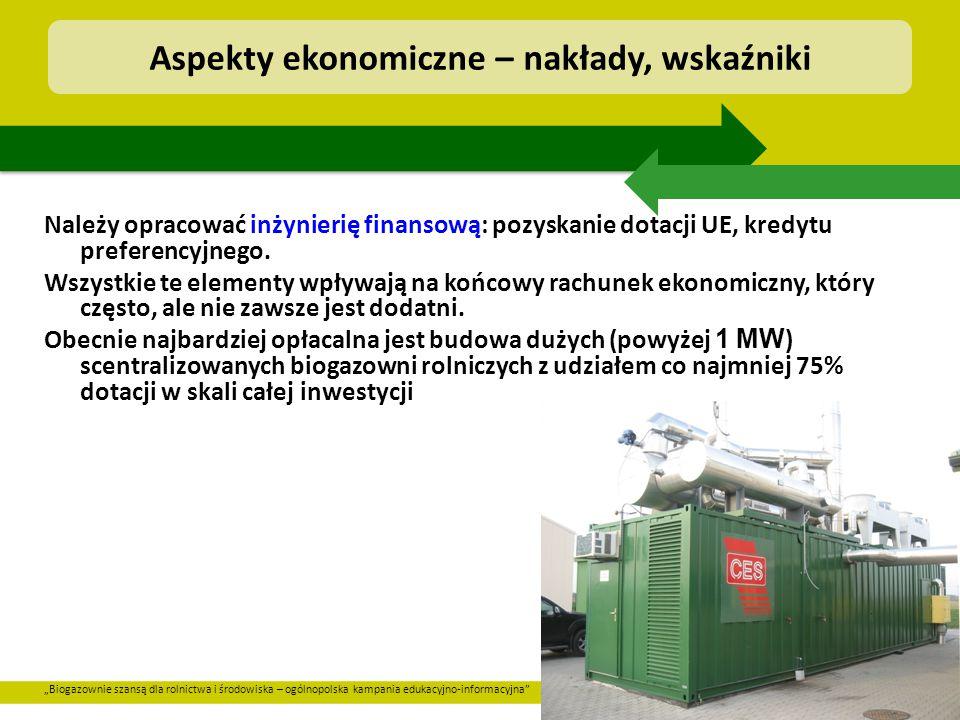 """""""Biogazownie szansą dla rolnictwa i środowiska – ogólnopolska kampania edukacyjno-informacyjna"""" Należy opracować inżynierię finansową: pozyskanie dota"""