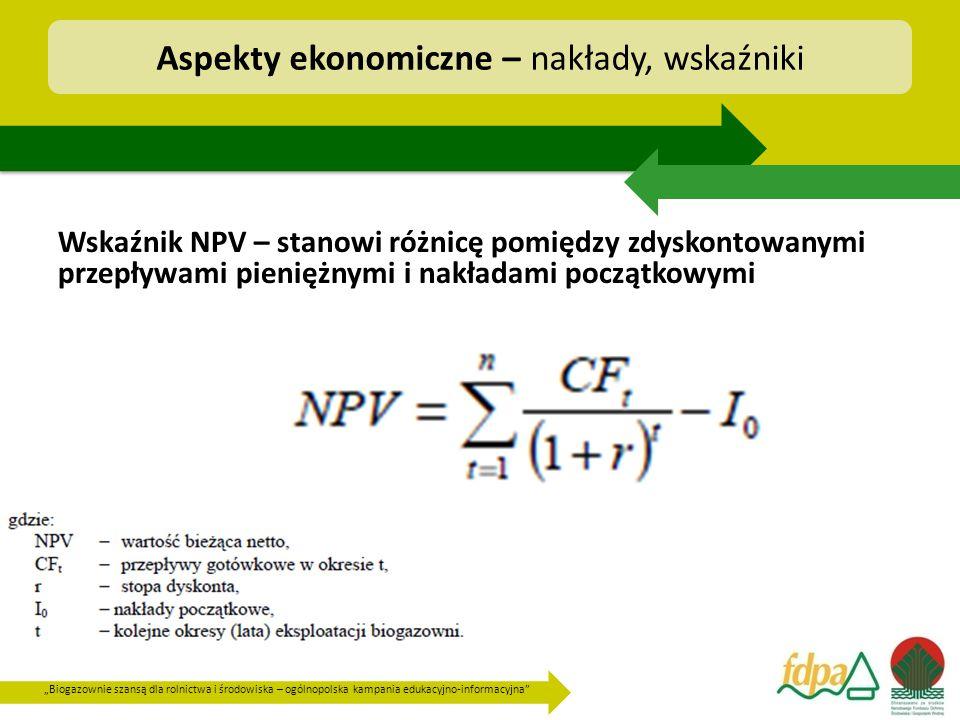 """""""Biogazownie szansą dla rolnictwa i środowiska – ogólnopolska kampania edukacyjno-informacyjna"""" Wskaźnik NPV – stanowi różnicę pomiędzy zdyskontowanym"""