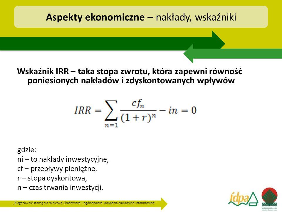 """""""Biogazownie szansą dla rolnictwa i środowiska – ogólnopolska kampania edukacyjno-informacyjna Wskaźnik IRR – taka stopa zwrotu, która zapewni równość poniesionych nakładów i zdyskontowanych wpływów Aspekty ekonomiczne – nakłady, wskaźniki gdzie: ni – to nakłady inwestycyjne, cf – przepływy pieniężne, r – stopa dyskontowa, n – czas trwania inwestycji."""