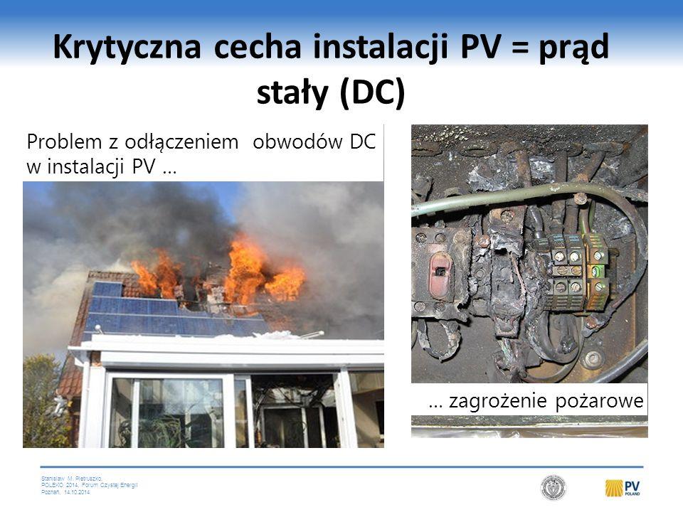 Stanislaw M. Pietruszko, POLEKO 2014, Forum Czystej Energii Poznań, 14.10.2014 Krytyczna cecha instalacji PV = prąd stały (DC) Problem z odłączeniem o